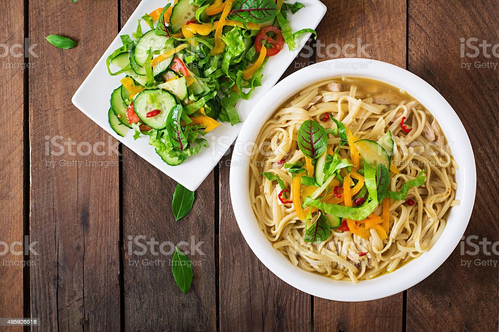 Delicate noodles cooked in a miso broth stock photo