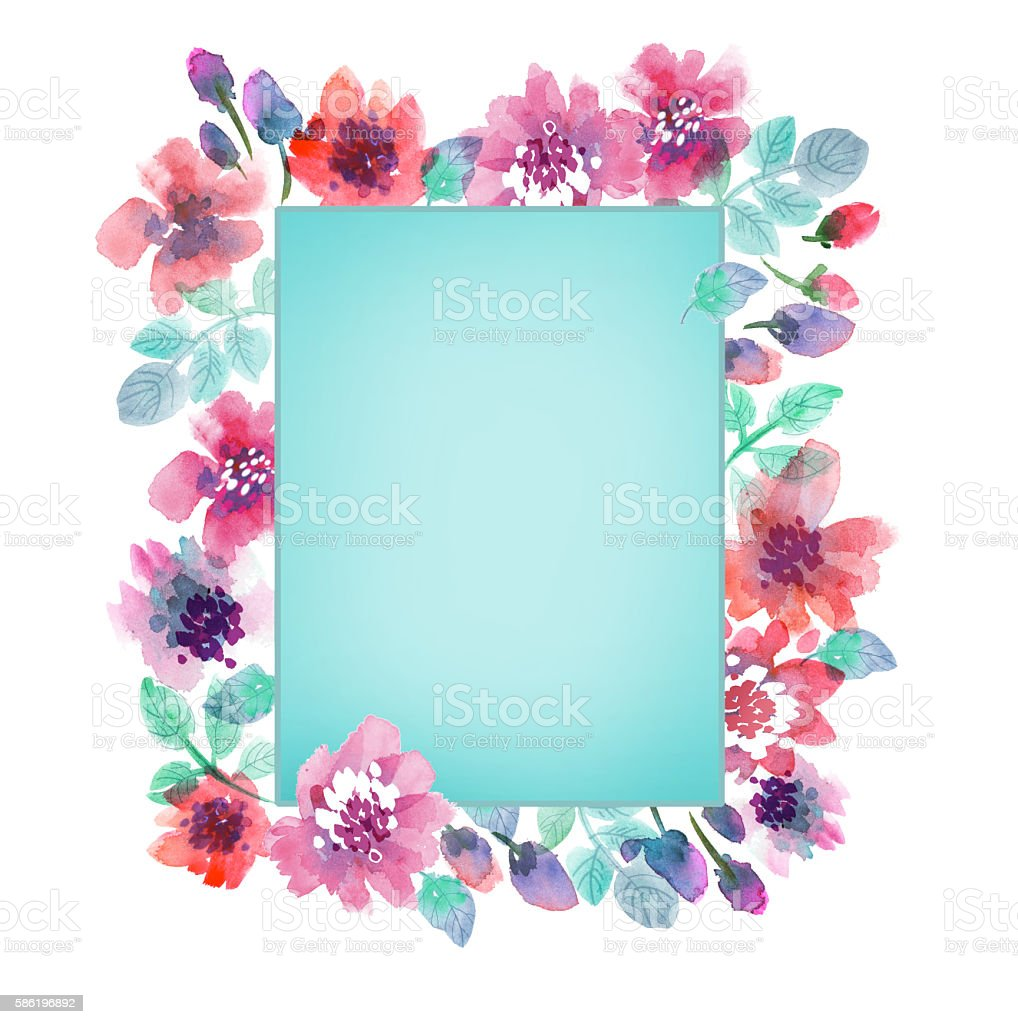 delicate pale color watercolor background. abstract flower frame – Foto