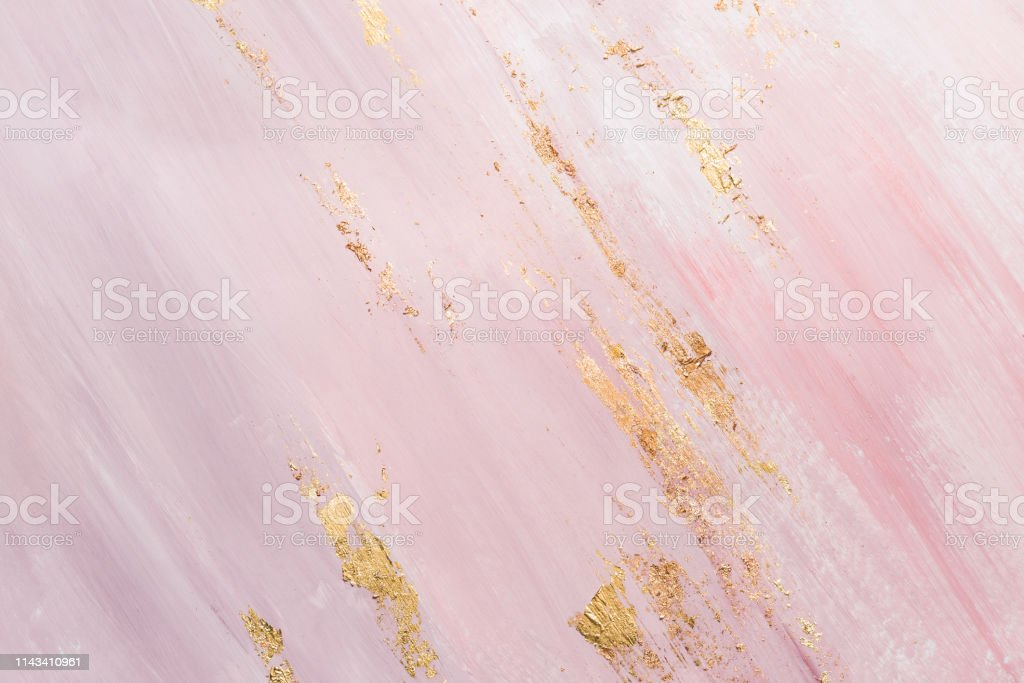 Delicate Pink Marble Background With Gold Brushstrokes Place For Your Design Stock Photo Download Image Now Istock