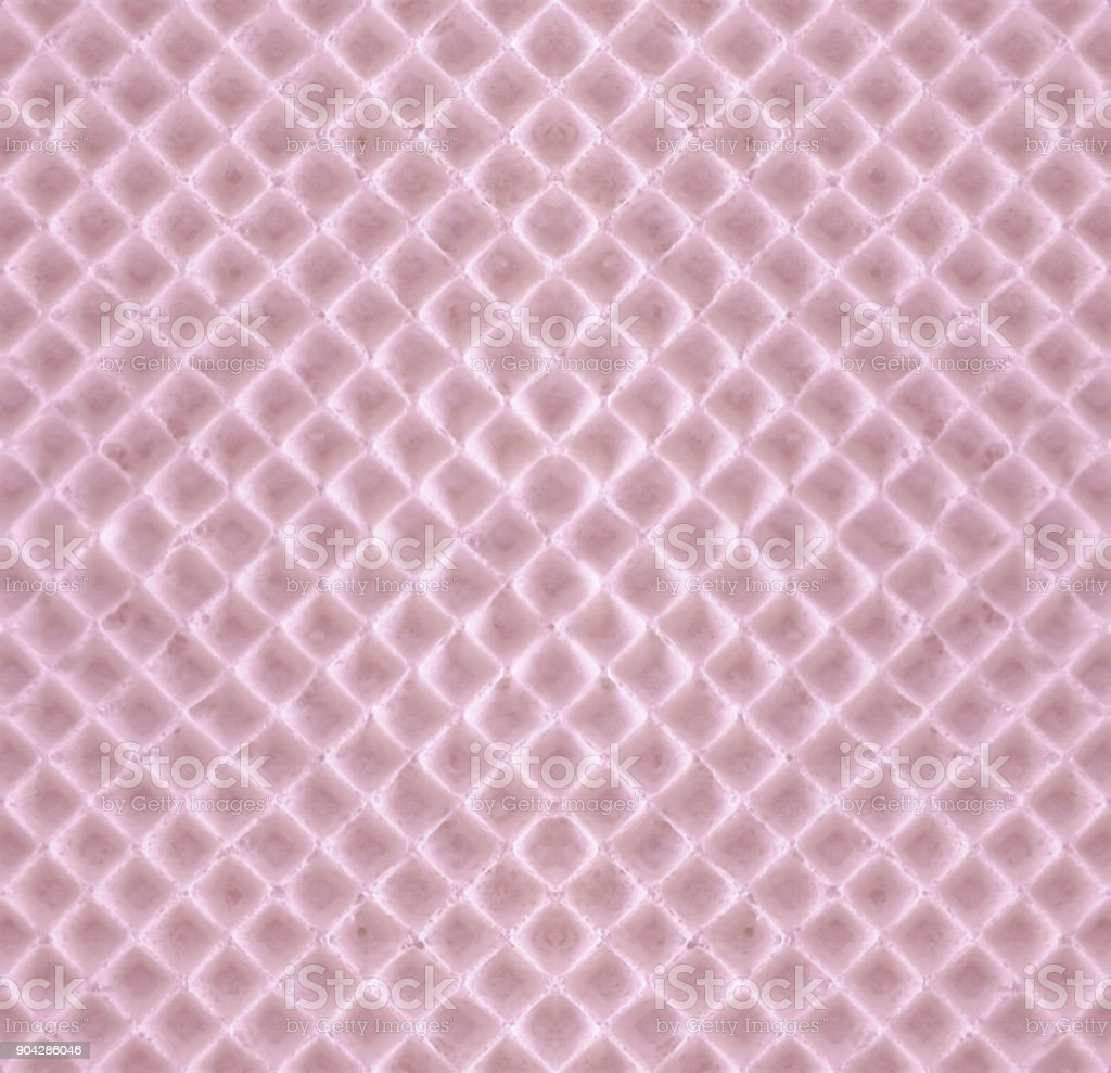 Delicate pink sweet waffle - romantic seamless background stock photo