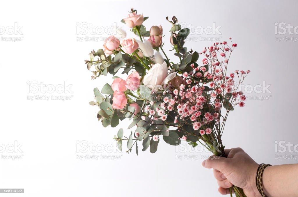 Delicate Wedding Bouquet Of Ranunculus Flower Eucalyptus Leaves
