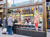 In October 2014, people were buying delicatessen in the streets of Vienna, Austria.
