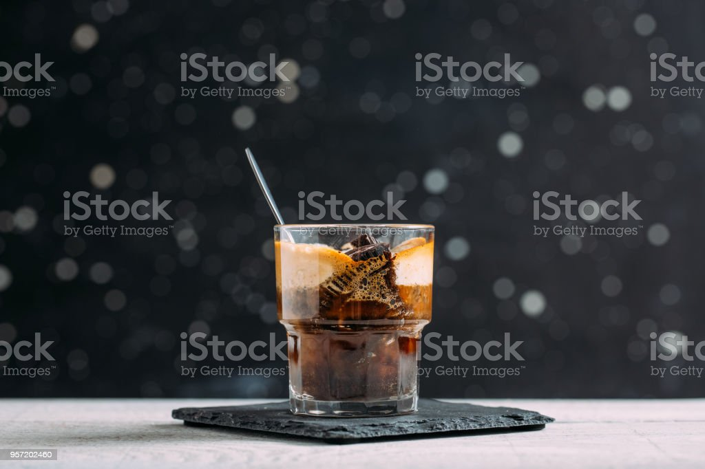 Delicious Affogato on Wooden Background stock photo