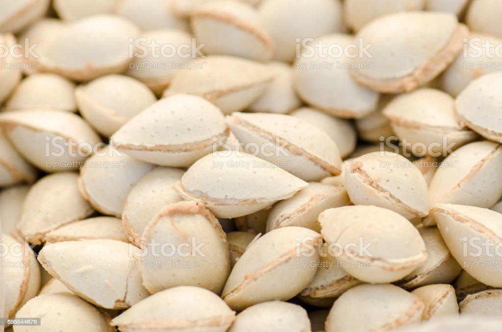 Delicious almonds filled with stoneground turron cream. stock photo