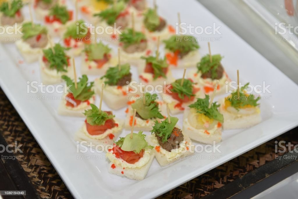 Delicious and easy finger food idea, Cocktail Favorite Food in Skewer. stock photo