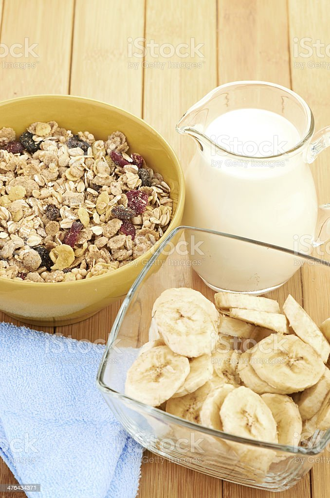 Delicious and healthy cereal in bowl with milk royalty-free stock photo