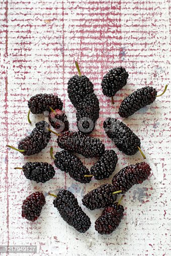 istock delicious and healthy mulberries on pink table 1217949127