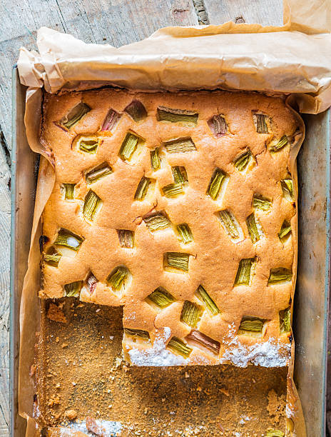 Delicious and healthy rhubarb cake stock photo