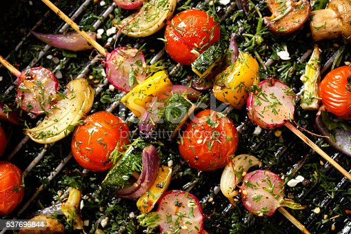 istock Delicious and healthy vegan skewers 537696844