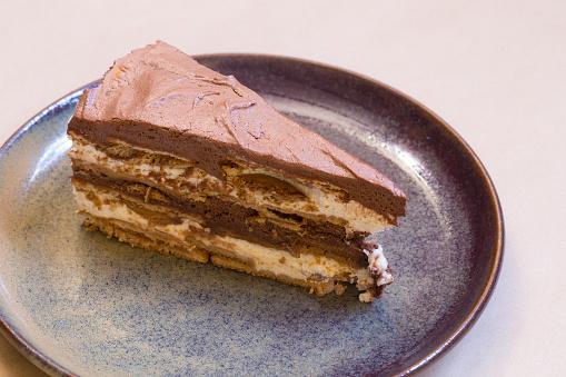 "Delicious and served ""Bolo de Bolacha com Mousse de Chocolate"" is a typical Portuguese dessert."