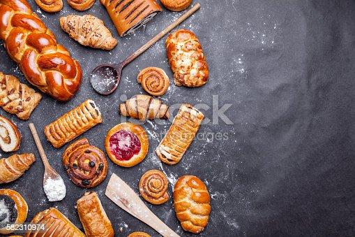 istock Delicious and sweet seasonal pastry background 582310974