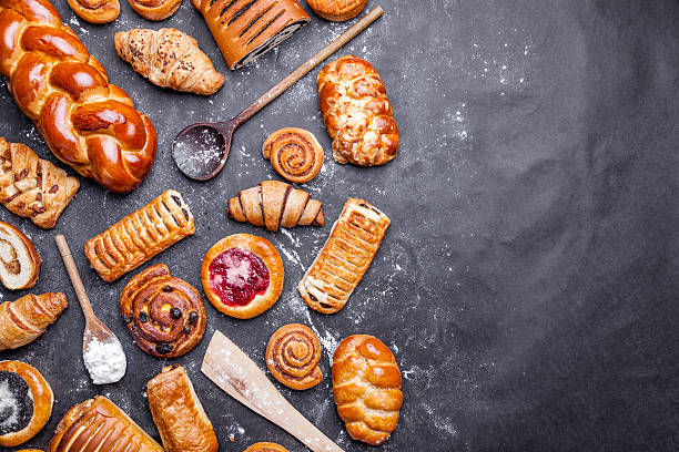 delicious and sweet seasonal pastry background - repostería fotografías e imágenes de stock