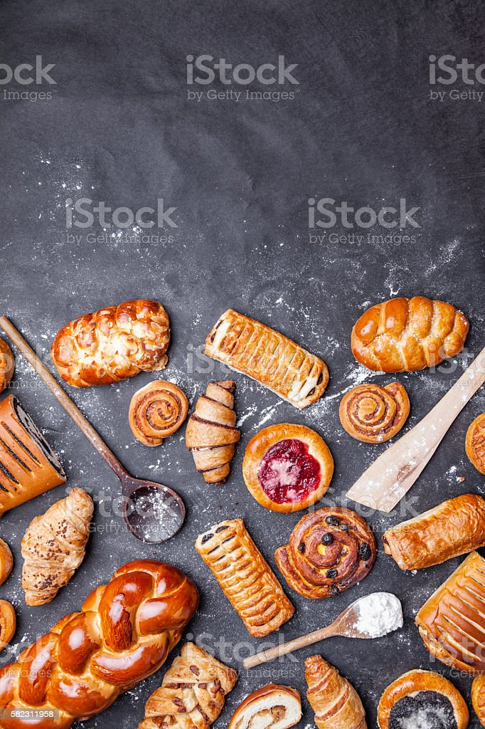 Delicious and sweet seasonal pastry background stock photo