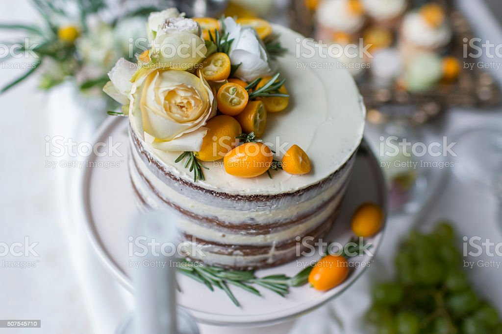 Delicious and tasty dessert table at wedding reception cream pie stock photo