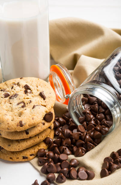 Delicious and tempting Pile of Dark chocolate chips morsels and chocolate chip cookie  in a glass jar with a glass of milk stock photo