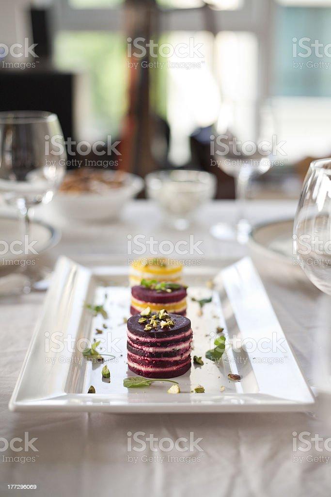Delicious and Vibrant Beet Napoleon stock photo