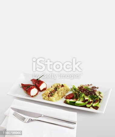 Delicious appetizer plate on white background