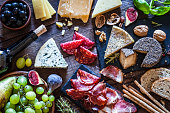 Delicious appetizer on rustic wooden table