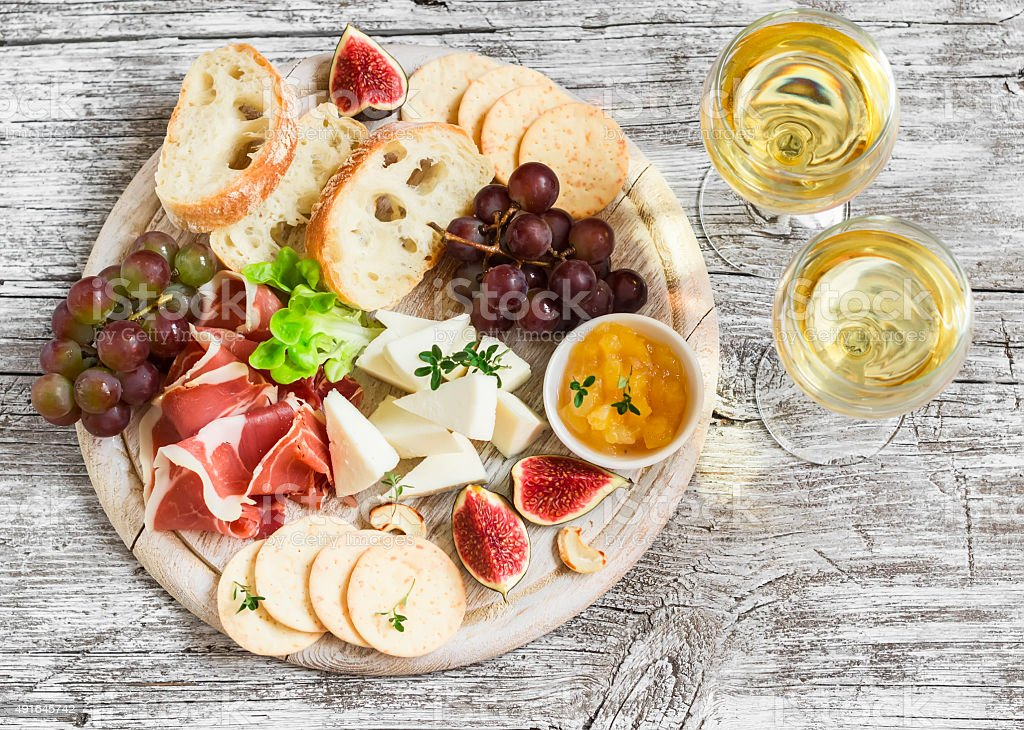 delicious appetizer to wine stock photo