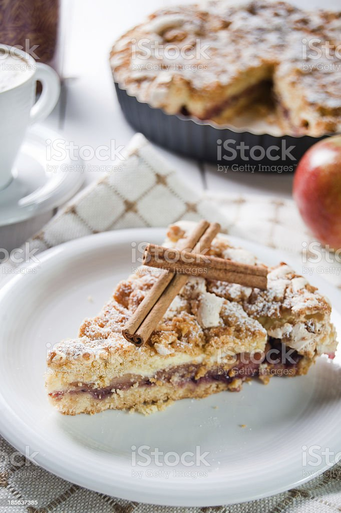 Delicious apple pie with sweet crumble royalty-free stock photo