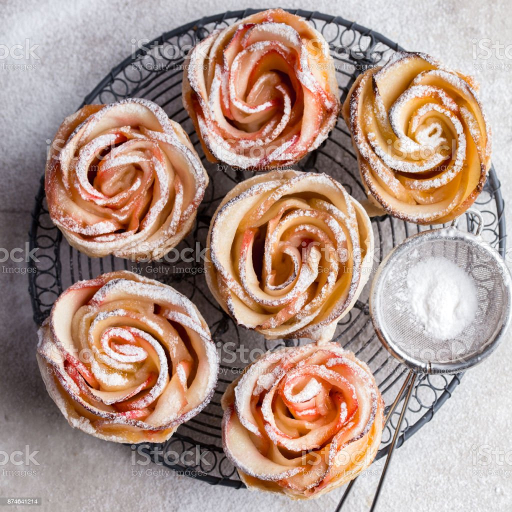 delicious apple rose cakes stock photo
