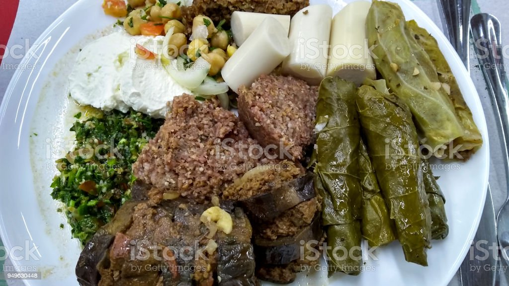 Delicious Arabian food on plate stock photo