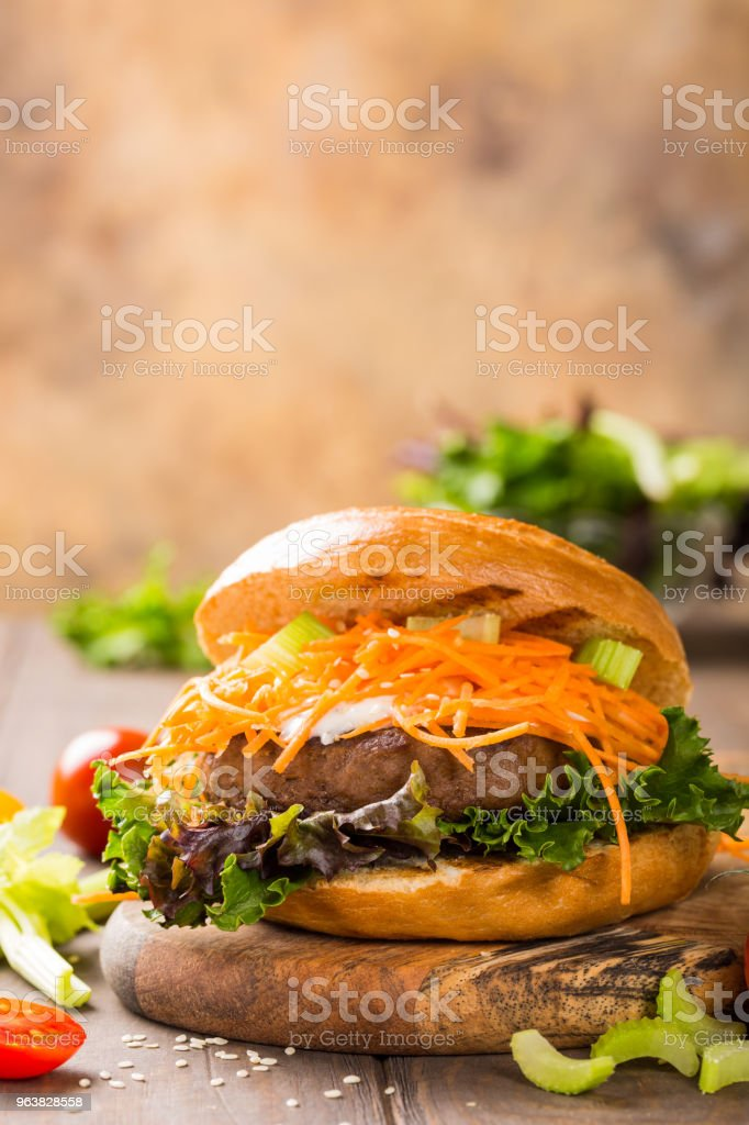 Delicious bagel burger stock photo