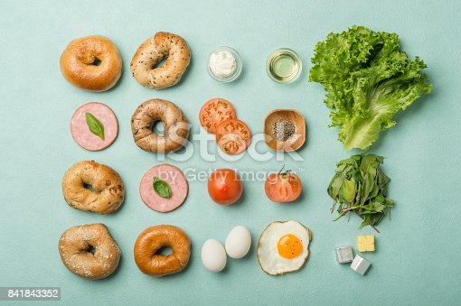 istock Delicious Bagel sandwiches  - Knolling 841843352