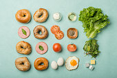 Delicious Bagel sandwiches  - Knolling