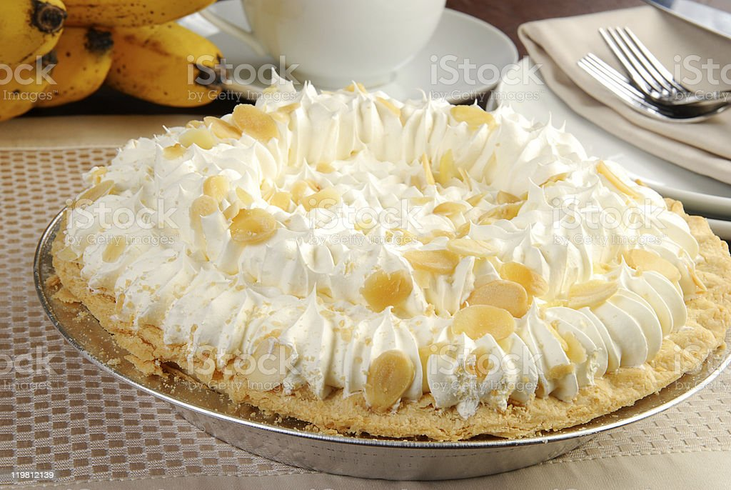 Delicious banana cream pie stock photo