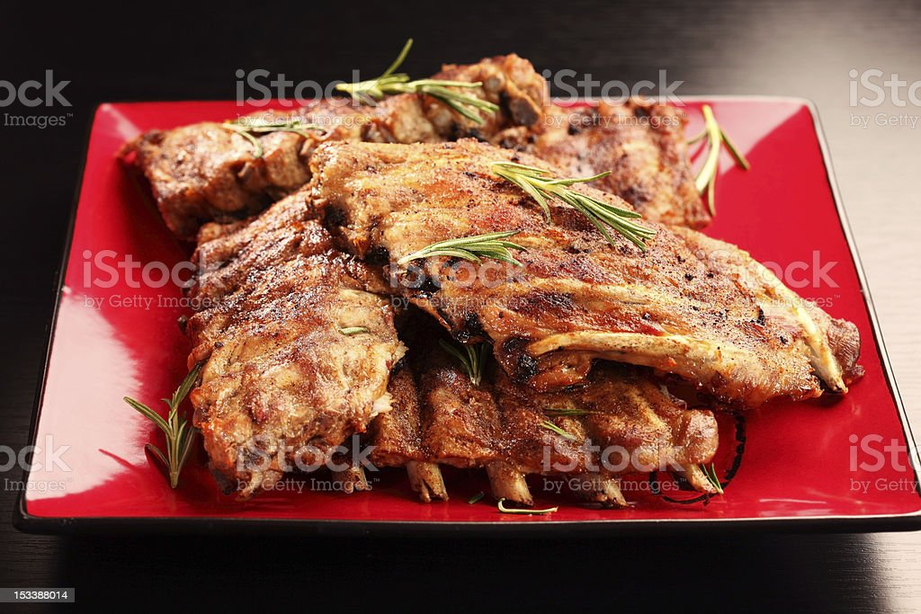 Delicious BBQ spare ribs royalty-free stock photo