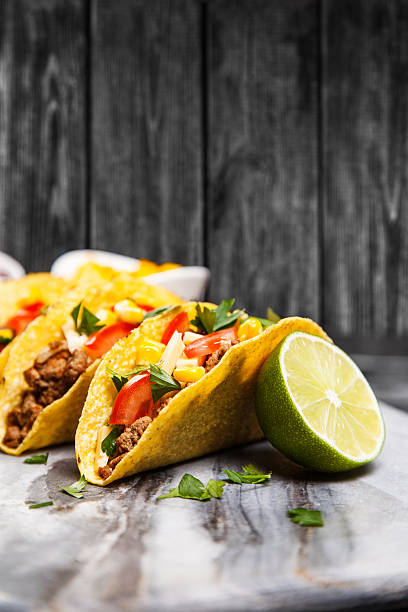 Delicious beef tacos stock photo