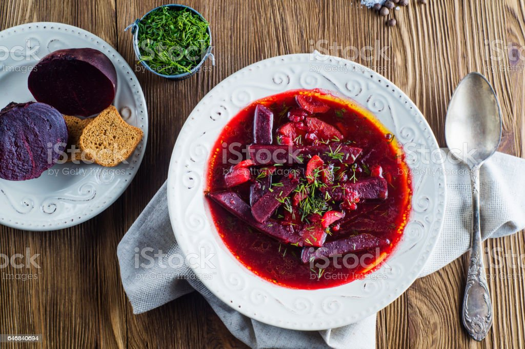 Delicious beet soup with croutons. stock photo