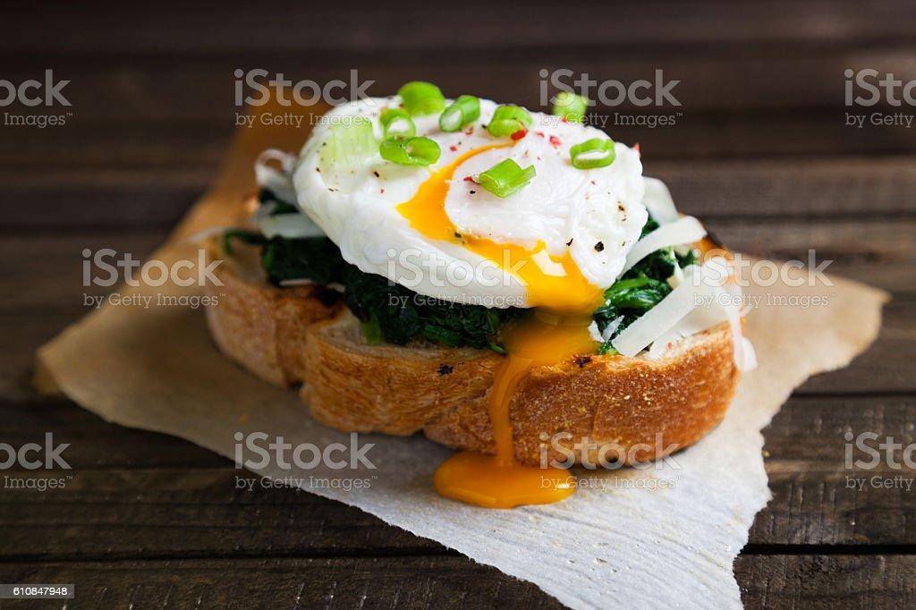 Delicious benedict eggs stock photo