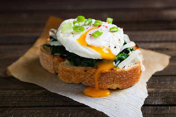 Delicious benedict eggs stock photo