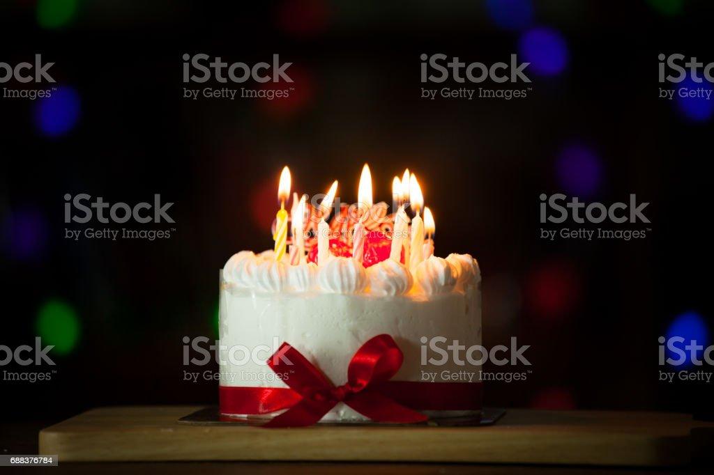 royalty free happy birthday cake burning candles