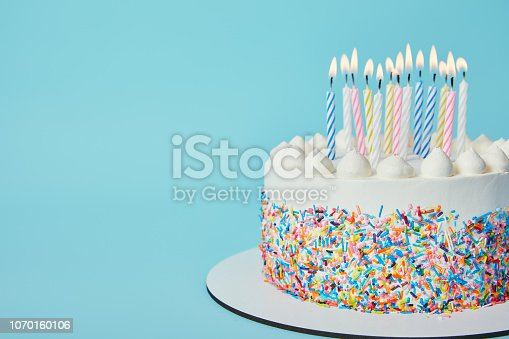 istock Delicious Birthday cake with lighting candles on blue background 1070160106
