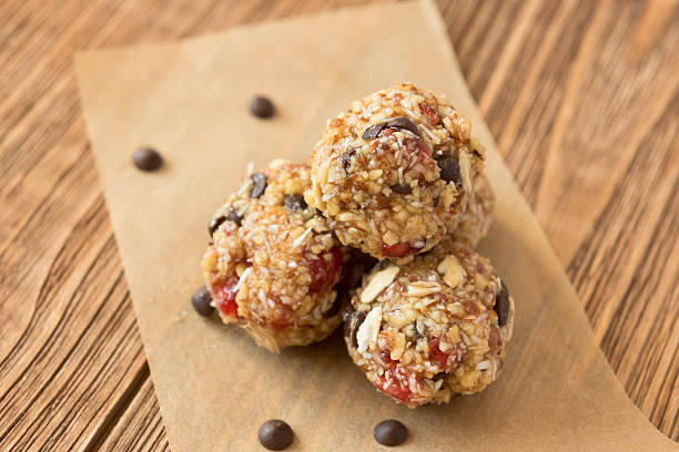 Delicious bites with cherry, cranberry, almond and chocolate - foto de acervo