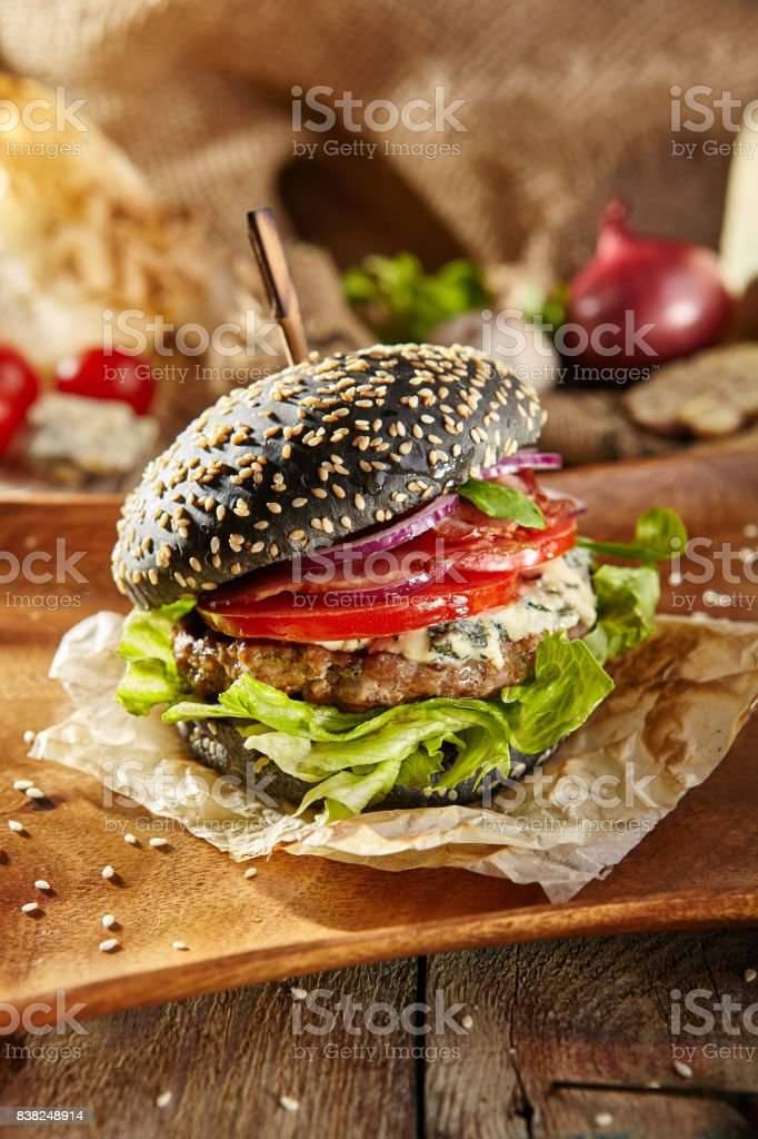 Delicious Black Burger stock photo