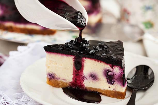 Delicious blueberry cheesecake stock photo