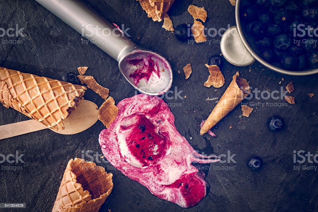 Delicious Blueberry Ice Cream on a Background stock photo