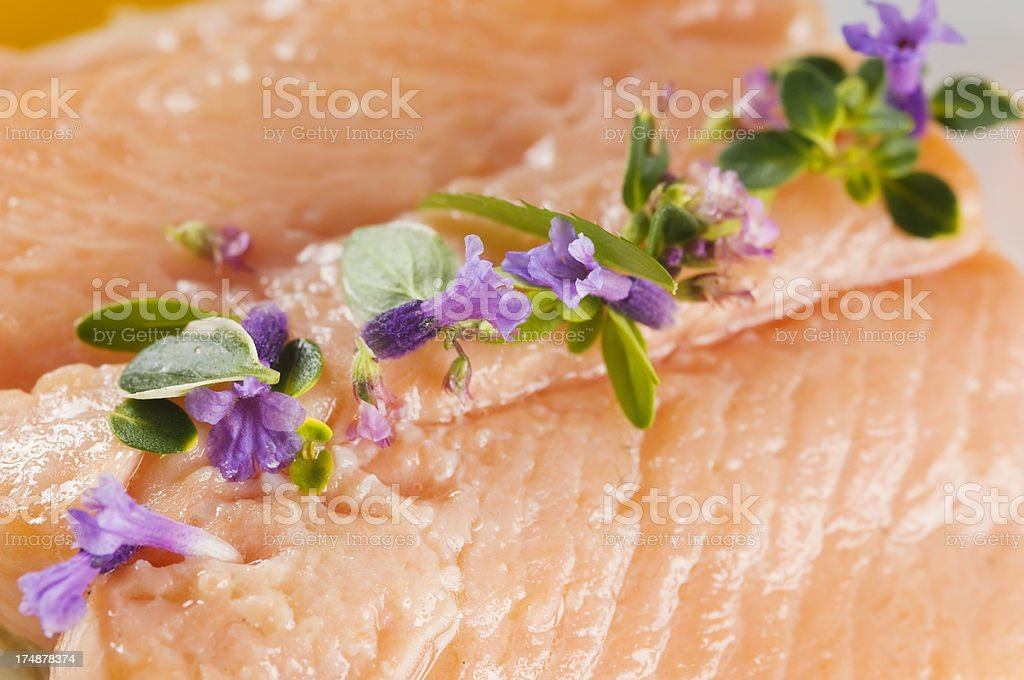 Delicious boiled salmon - detail stock photo