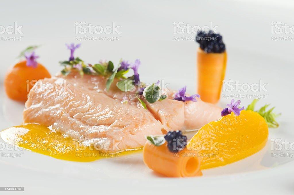 Delicious boiled salmon stock photo