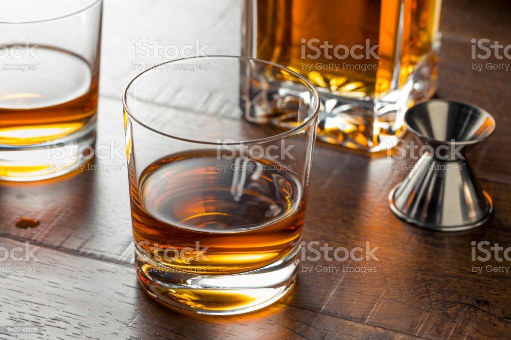Delicious Bourbon Whiskey Neat stock photo