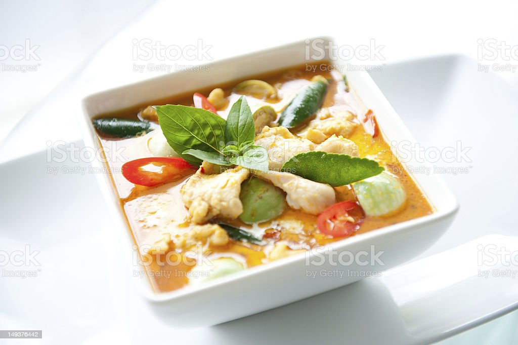 A delicious bowl of Thai Food Red Curry Chicken stock photo