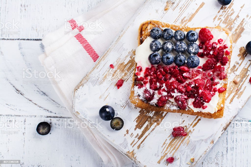 Delicious breakfast 4th july theme toasts stock photo