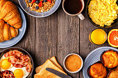 istock Delicious breakfast on a rustic table. 863444560