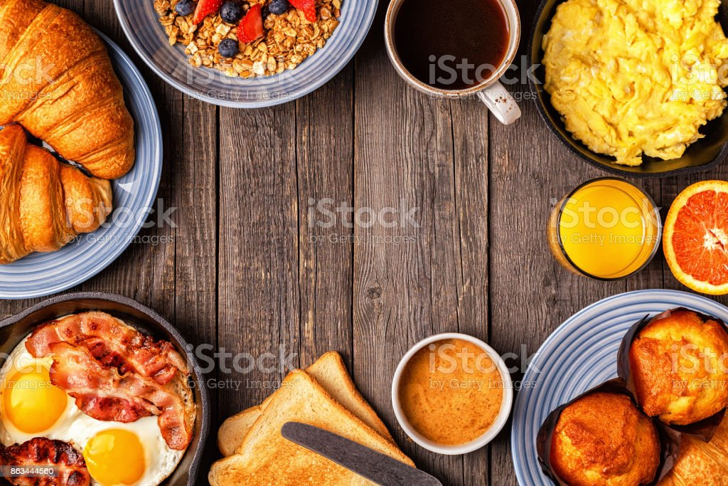 Delicious breakfast on a rustic table. stock photo
