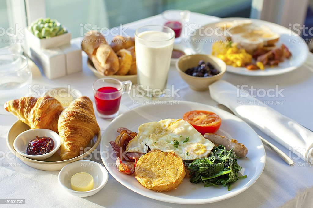 delicious breakfast delicious breakfast for two at the luxury hotel Bacon Stock Photo