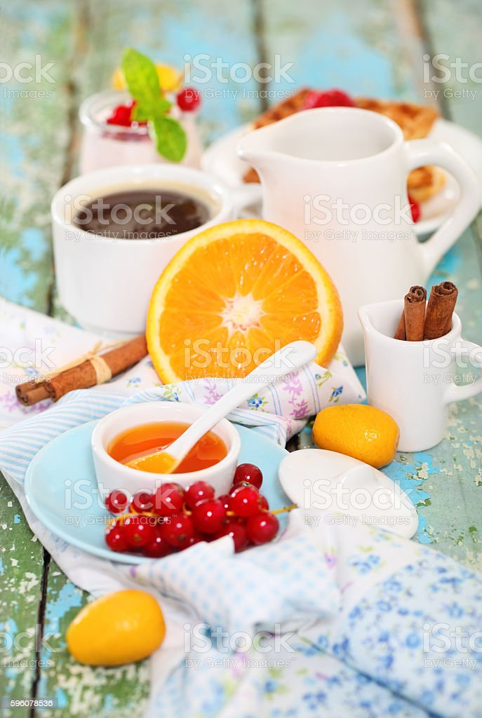 Delicious breakfast with coffee, fresh waffles and fruits royalty-free stock photo